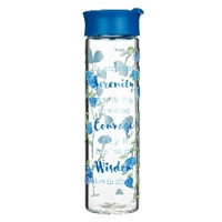 Picture of Water Bottle Glass Serenity Prayer Blue