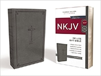 Picture of NKJV Delux Gift Bible Leathersoft Gray Comfort P