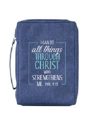 Picture of Bible Bag I Can Do All Things Blue Large