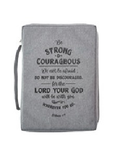 Picture of Bible Bag Be Strong And Courageous Gray Medium