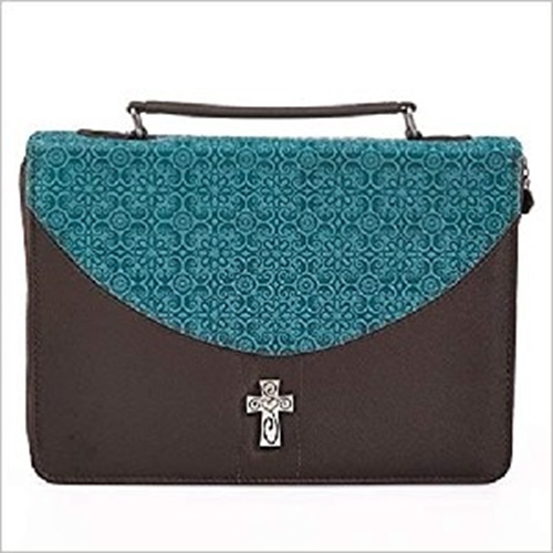 Picture of Bible Bag Micro-Fiber with Silver Cross Turqu/Brn