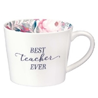 Picture of Mug Best Teacher Ever White With Floral Interior