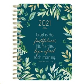 Picture of Daily Planner Wirebound Green Leaves 2021