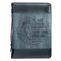 Picture of Bible Bag Be Strong And Courageous Black/Gray Larg