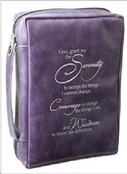 Picture of Bible Bag Leather Look Serenity Prayer Purple Larg