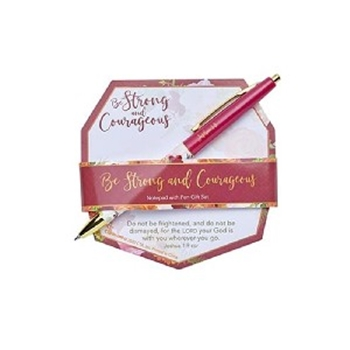 Picture of Notepad & Pen Gift Set Be Strong And Courageous