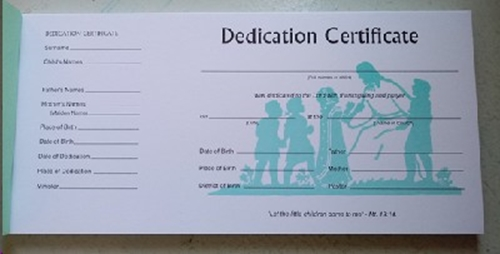 Picture of Dedication Certificate Book