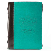 Picture of Bible Bag I Can Do Everything Aqua/Brown