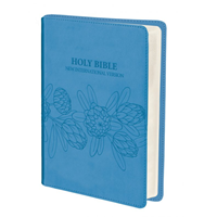Picture of NIV Bible Luxleather Aqua Blue Protea