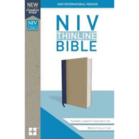 Picture of NIV Thinline Bible Cloth Over Board Blue/Tan